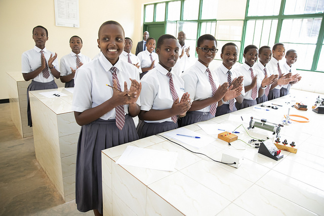 FAWE Rwanda supports girls in STEM studies and hands on practice.
